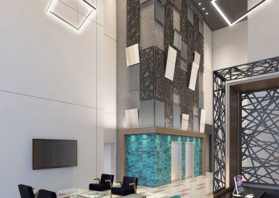 Lobby in Venue Tower in Grand Rapids Michigan