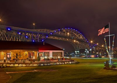 Night View of the Blue Bridge and Freighters Restaurant