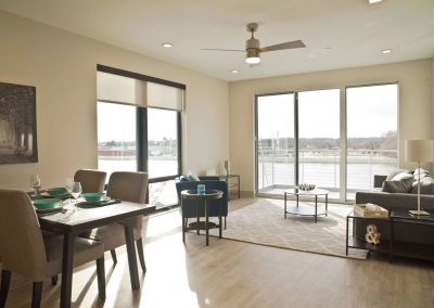 Apartment Living area in Homes at River's Edge